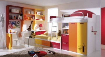 colorful white loft bed with desk