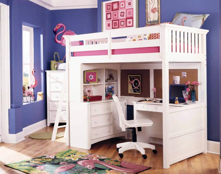 compact white loft bed with desk