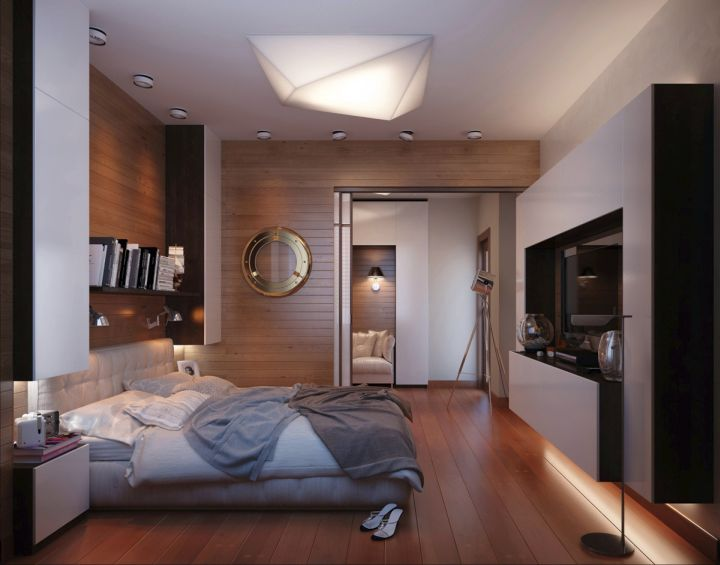 contemporary bedroom basement ideas with wooden panel