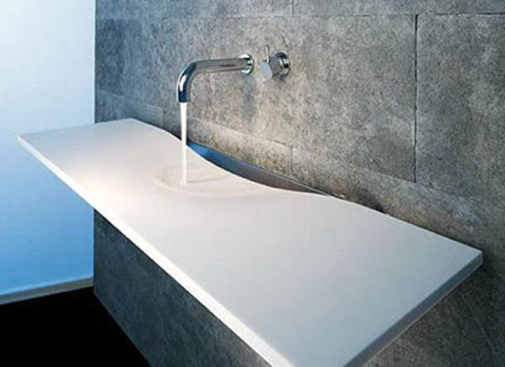 contemporary flat floating sinks