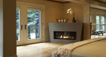 contemporary gas fireplace bedroom in corner
