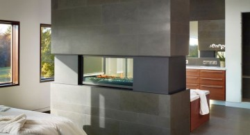 contemporary gas fireplace bedroom in partition