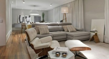 contemporary great room furniture layout with modern sofa