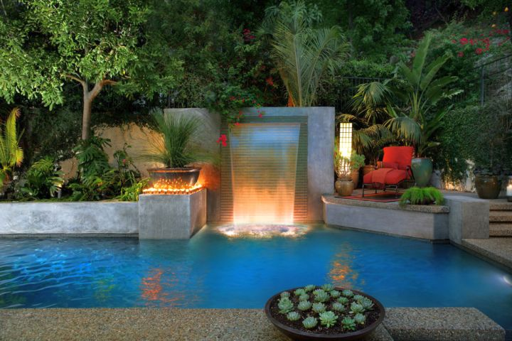 contemporary light for pools with waterfalls