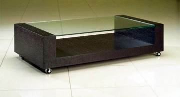 contemporary minimalist square lucite coffee table with dark wood