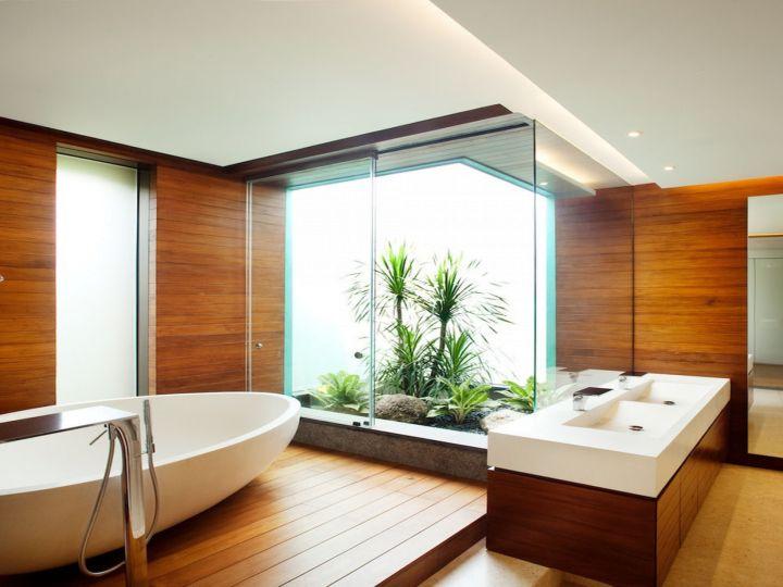 contemporary wood bathroom with inner garden