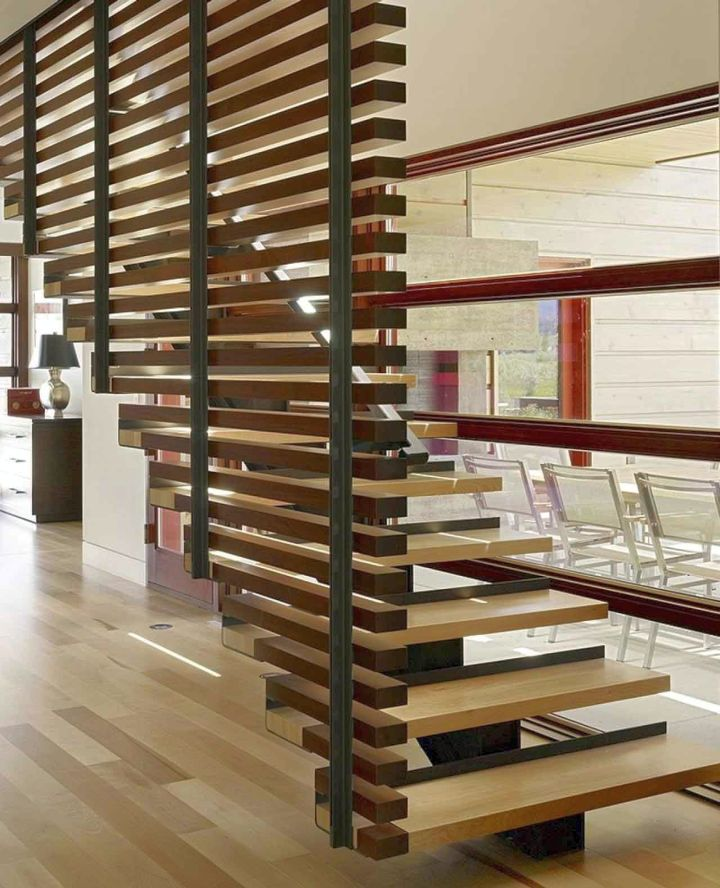 contemporary wood staircase