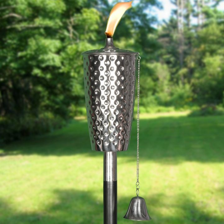 cool tiki torches dimpled iron