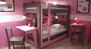 desk and bed combination in pink and brown