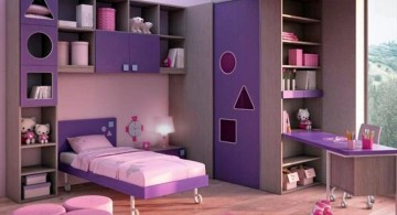 desk and bed combination in purple with pink rug