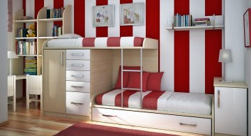 desk and bed combination in red and white