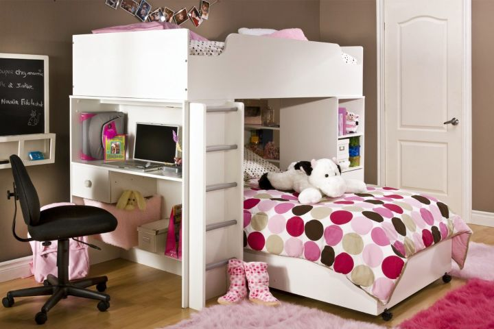 desk and bed combination in white