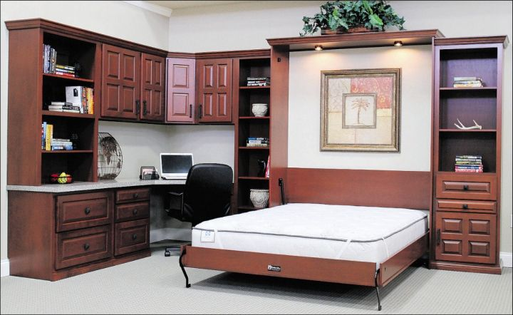 Desk and bed combination with murphy bed Bedroom office combo furniture