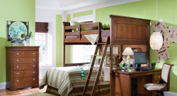 desk and bed combination with rustic bunk beds