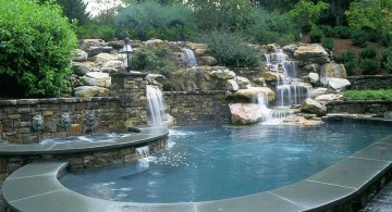 different height pool waterfall ideas