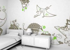 dinosaur themed bedroom idea featuring fun and simple mural on the walls
