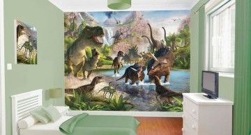 dinosaur wallpaper mural design in contemporary room