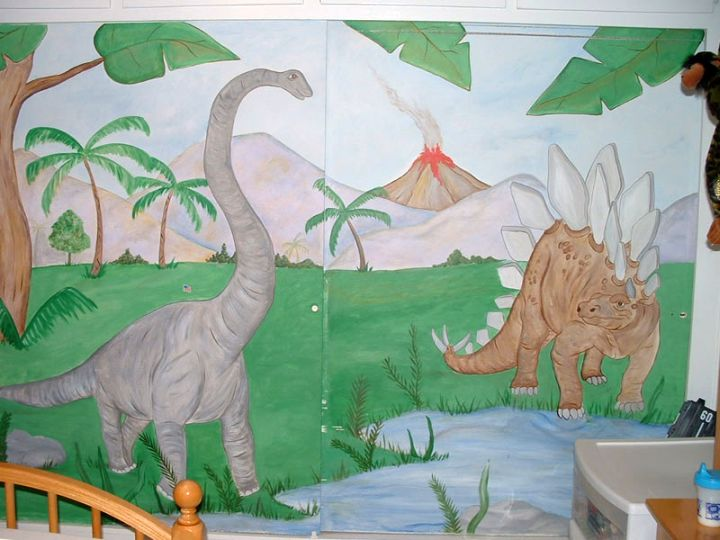 17 awesome dinosaur wallpaper mural designs for Dinosaur mural ideas