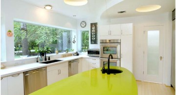 eco-friendly kitchen design with lovely lime green countertop