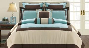 elegant brown and blue bedroom bedding