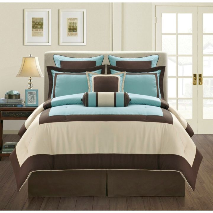 Blue Brown Bedroom Pictures: Elegant Brown And Blue Bedroom Bedding