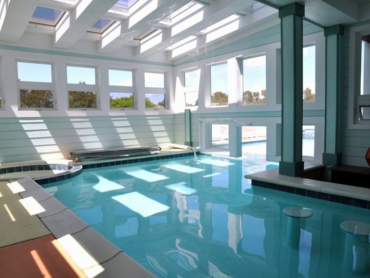 enclosed swimming pool with skylights