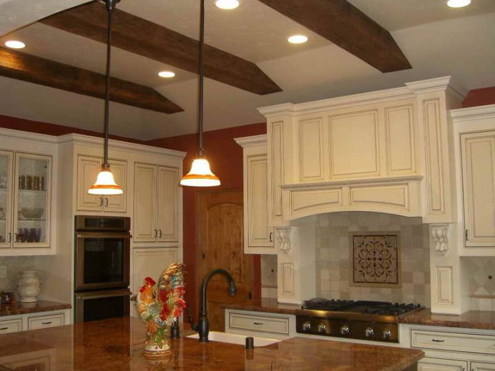 exposed beam ceiling for low ceilinged kitchen