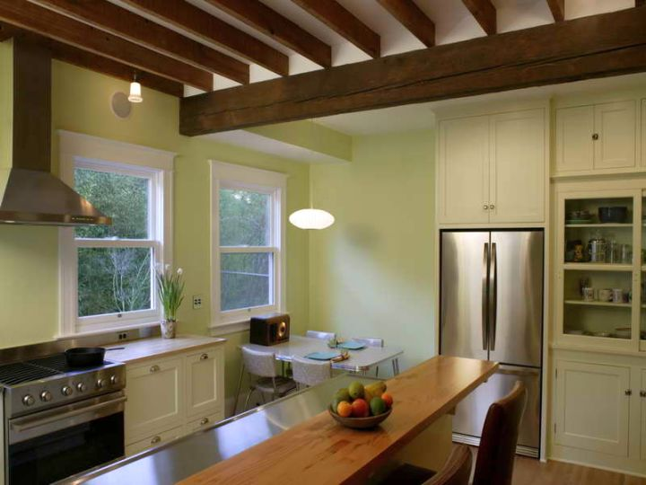 exposed beam ceiling for rustic kitchen