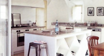 exposed beam ceiling for white kitchen