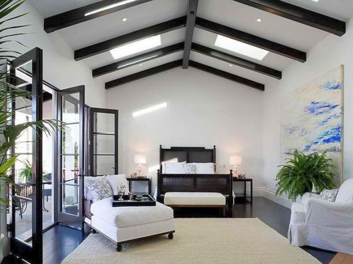 exposed beam ceiling in a monochrome theme room