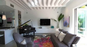 exposed beam ceiling in white