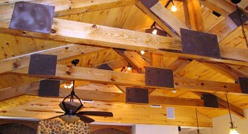 exposed beam ceiling with black joints