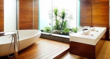 featured image of contemporary wood bathroom with indoor garden