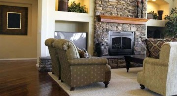 featured image of great room furniture layout with stack stone fireplace