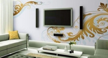 featured image of living room TV placement ideas with lovely wall decal
