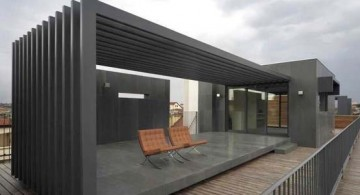 featured image of modern pergola kit design for rooftop clad in dark grey