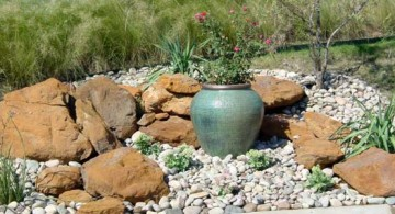 featured image of small rock garden designs with a plain fountain
