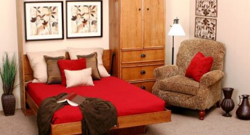 featured image of wall bed couch design with red bedding and wall art decorations