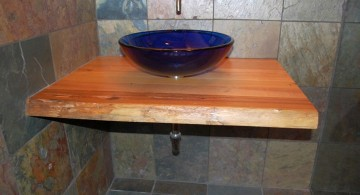 floating sinks with black bowl and