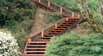floating wood Garden stairs