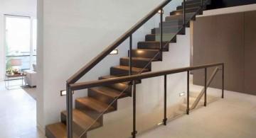 floating wood staircase with black steel railings
