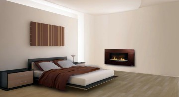 gas fireplace bedroom bare and minimalist