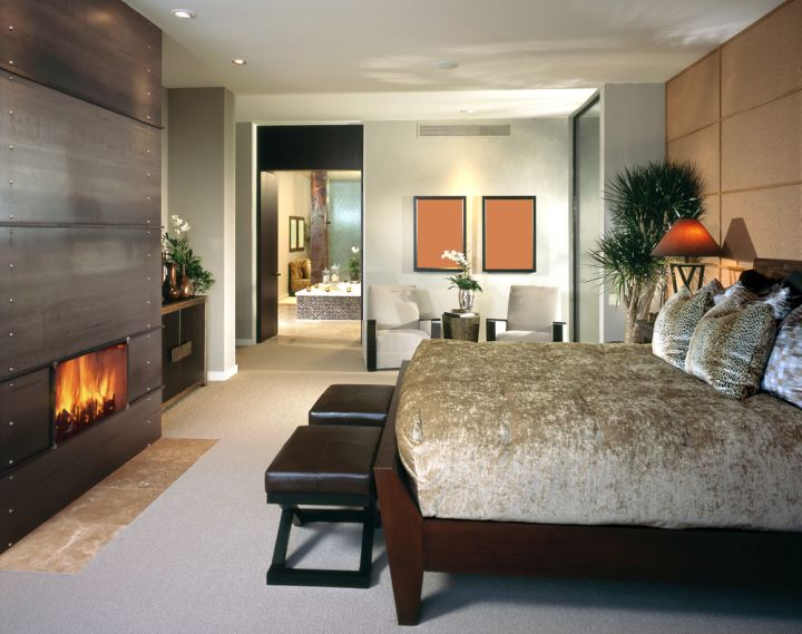 gas fireplace bedroom built in wall panel