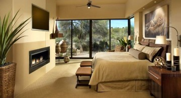 gas fireplace bedroom modern
