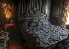 gothic bedroom idea for master bedroom design dominated with black coor scheme