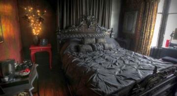 gothic bedroom idea for master bedroom design dominated with black coor scheme