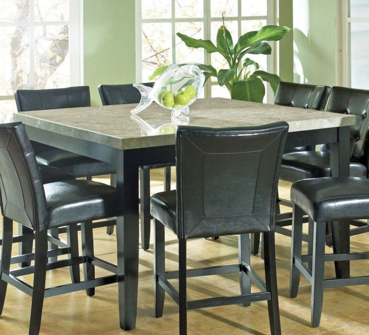 17 amazing granite dining room table designs for Large black dining room table