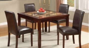 granite dining room table with wooden frame