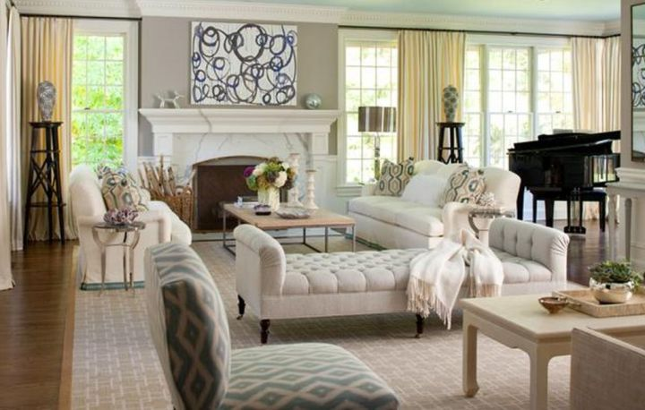 great room furniture layout in white and cream