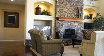 great room furniture layout with stone fireplace